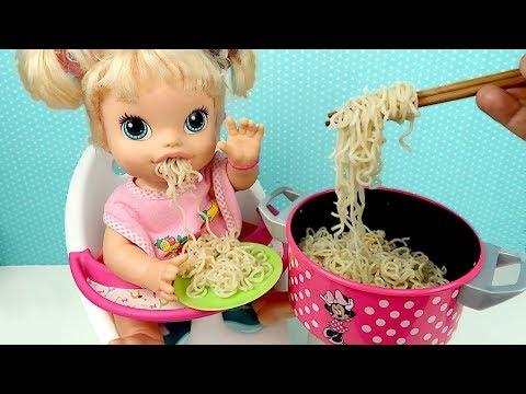 Детская Кухня Кукла Пупсик Готовим Лапша