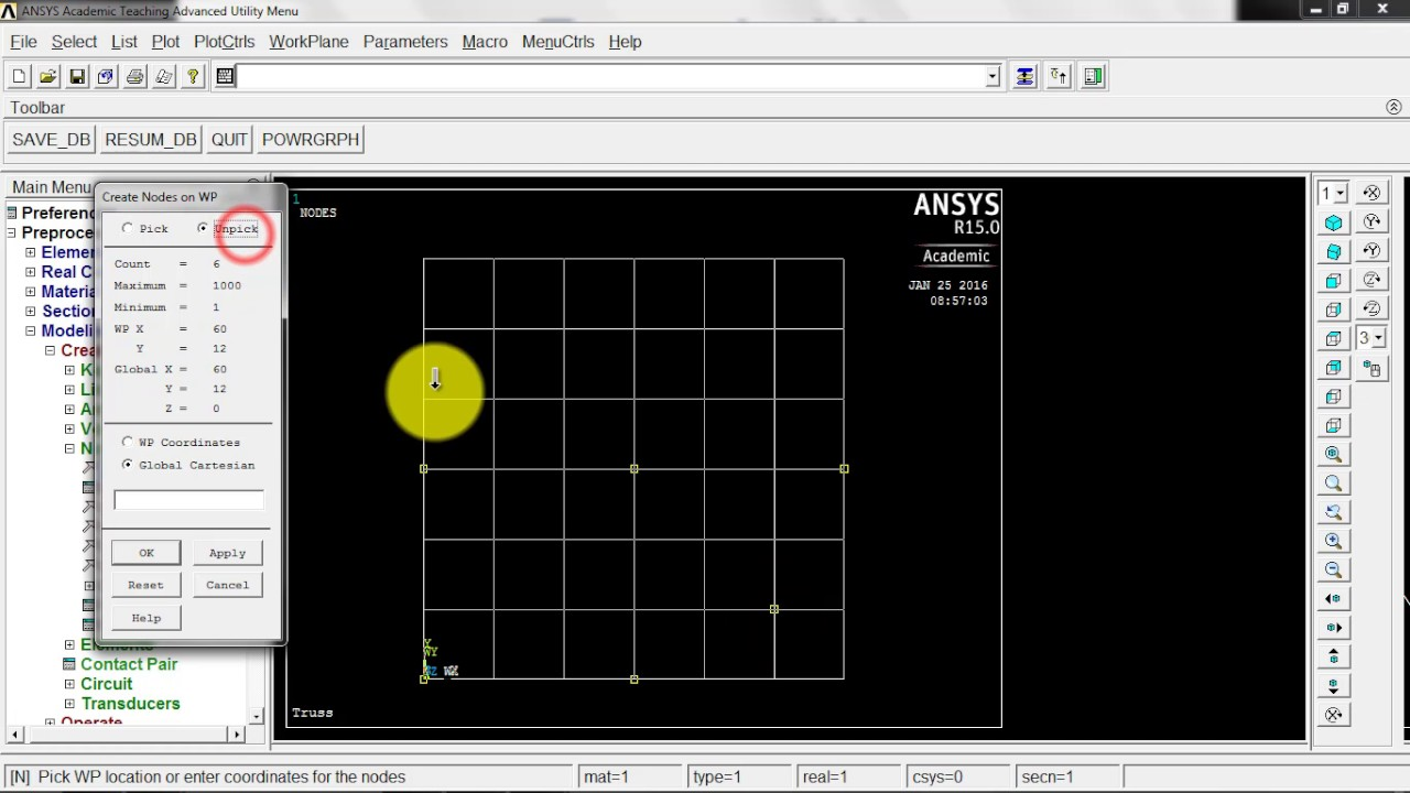 Trusses, ANSYS Example #1 (2/3): Defining Nodes and Elements, Applying BCs  and Loads