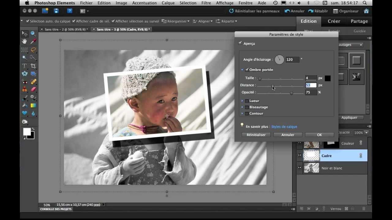 mettre un cadre en couleur dans une photo noir et blanc