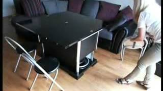Space Saving Convertible, Height Adjustable Coffee/dining Table With Storage For Chairs.mp4