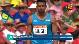 Arpinder Singh jump 16.39M in the first attempt of the commanwelth games qualifying