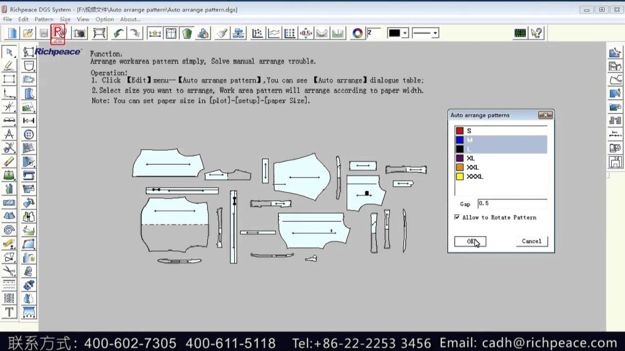 How To Arrange Pattern Automatically In Richpeace Garment Cad Software By Richpeace Group