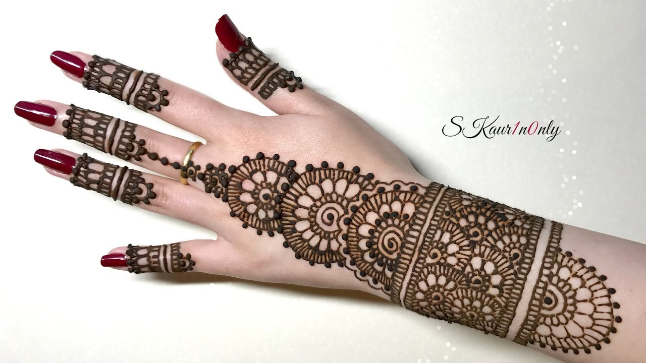 Henna Art 4 Beautiful Circular Mehendi Design With Pearl Effect