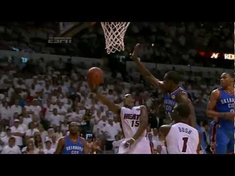 Last 4 shots made (Chris Bosh Lebron James Dwyane Wade Mario Chalmers) kill OKC GM4 NBA FINALS