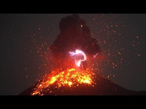 Krakatau Volcano Volcanic Lightning and Showers of Glowing Bombs