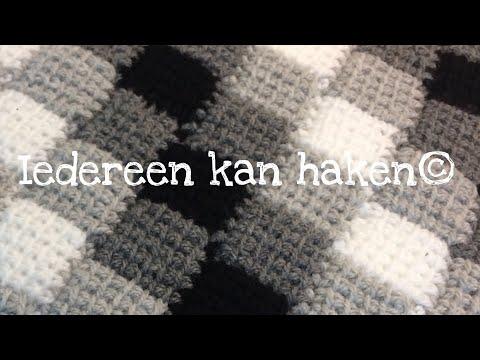 Iedereen kan haken© Woondeken Entrelac Tunisch blokjesdeken different languages subtitled blanket