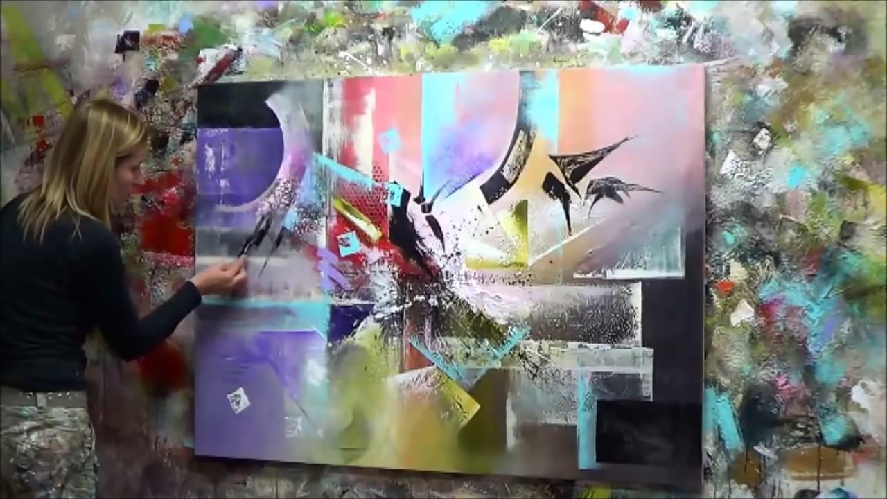 d monstration de peinture abstraite 4 elisabeth toile r flexion youtube. Black Bedroom Furniture Sets. Home Design Ideas