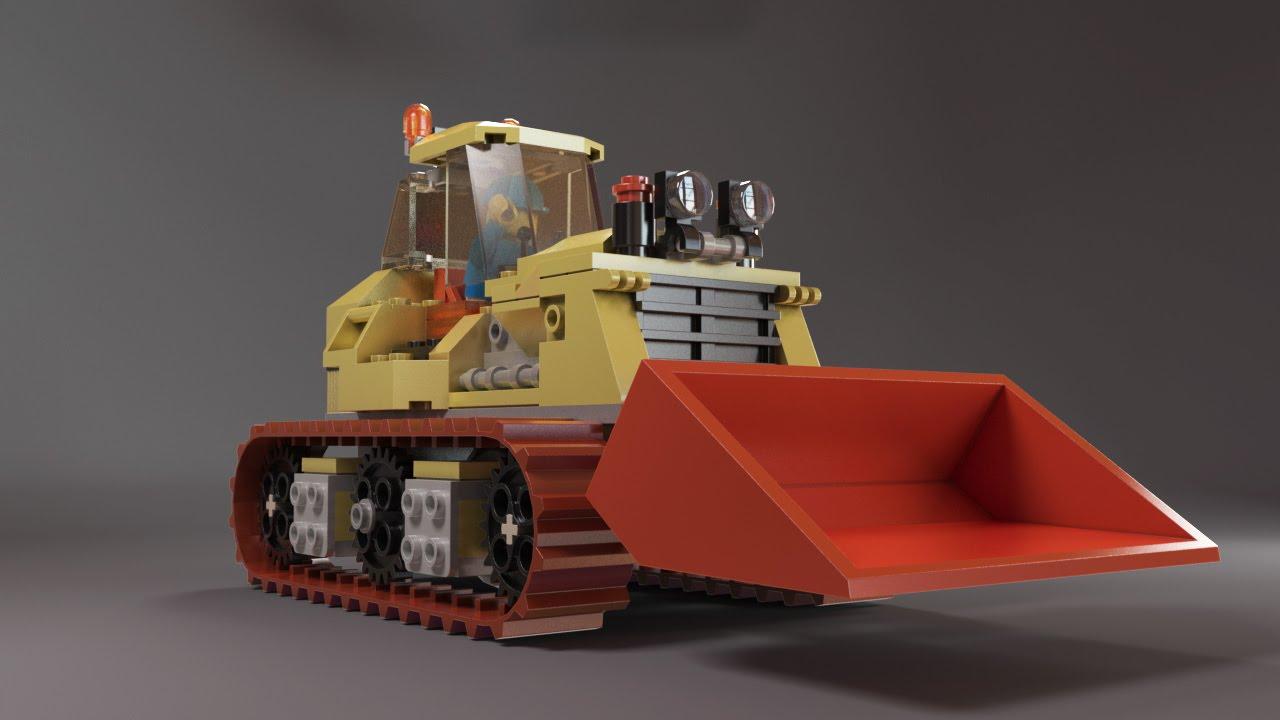 Blender Lego Model Tractor Design - LeoCad Export LDraw to OBJ