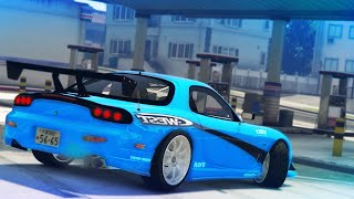 GTA 5 - Drifting To The Gas Station (Mazda RX7 Drift Montage)