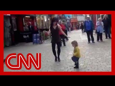 Toddler mimics Irish dancer