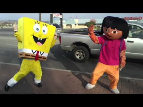 "Spongebob and Dora....do the ""stanky leg"" lol ;)"