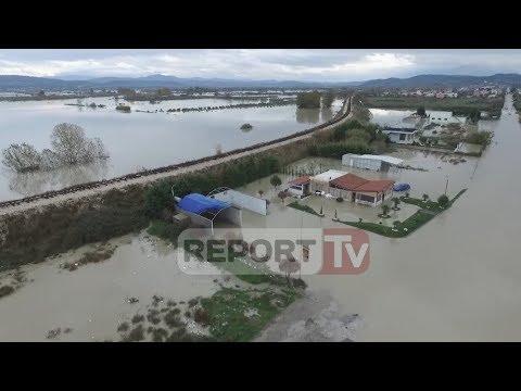 Report TV - Përmbytjet në Vlorë, Report Tv sjellë pamje ekskluzive me dron