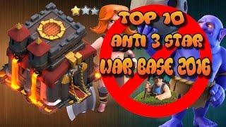TOP 10- NEW TH 10 WAR BASE| ANTI VALKYRIE| ANTI BOWLER| ANTI MINERS| 2016 WAR BASES!!