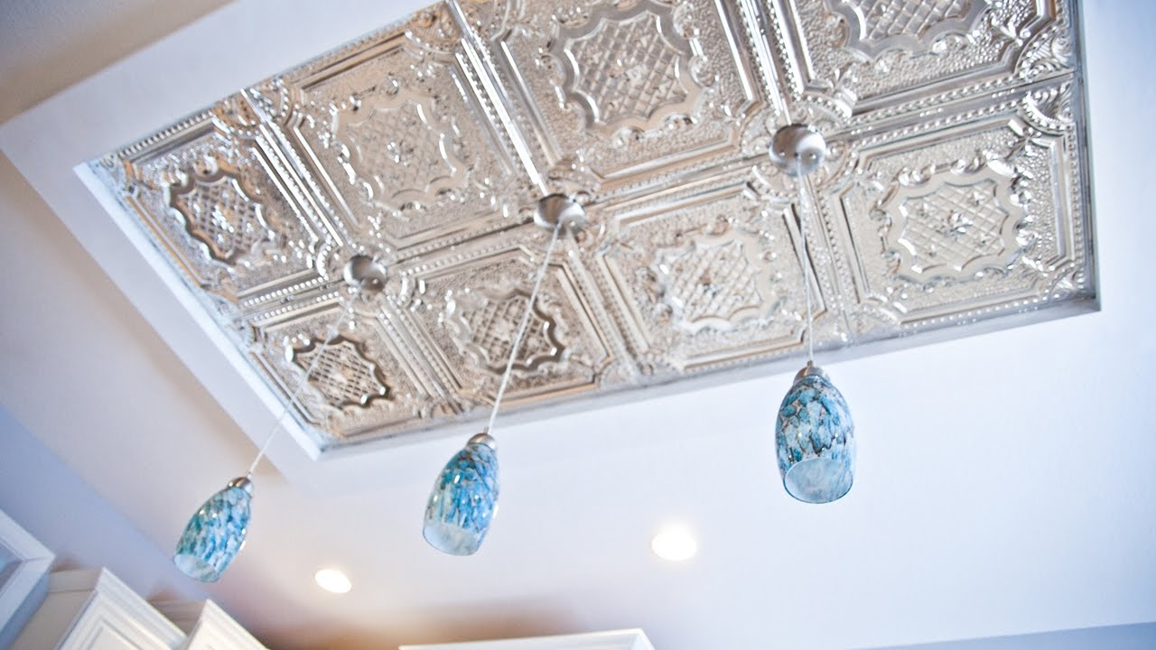 Beautiful Kitchen Ceiling Island Diy How To Install Tin Tiles And Pendant Lights