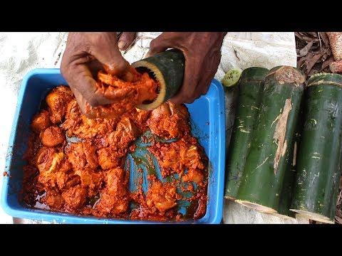 JUNGLE CHICKEN ROOSTER PREPARED BY OUR GRANDPA | Bamboo Chicken | బోంగ్ లో చికెన్ కర్రీ రిసీప్