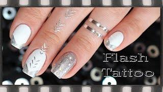 Маникюр с  флеш-тату + треугольный френч | Flash Tattoo Nail Art