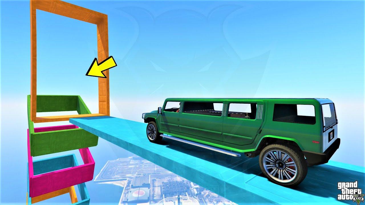 سباق ليموزين القفز داخل البراويز 🐸 GTA 5 - Limousine Race Jump Into Frames