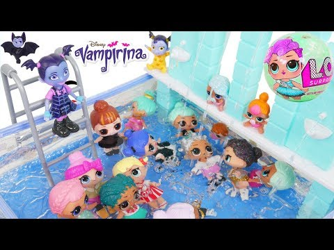 LOL Surprise Dolls Lil Sisters at Vampirina Pool
