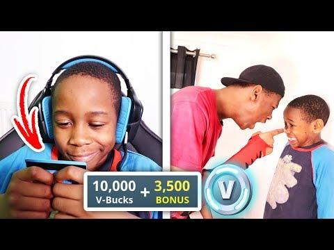 Kid Buys 10,000 V Bucks On Brother\'s Credit Card (Fortnite)