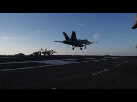 Flight Operations on the Deck of USS George H.W. Bush 2/20/17