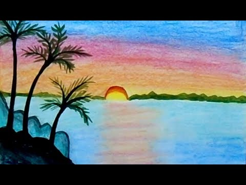 Sunset drawing | Scenery for beginners | draw scenery | sunset scenery | scenery color | scenery