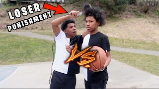 1V1 BASKETBALL VS LIL BROTHER! ( I WIN I CUT HIS HAIR OFF,HE WINS HE GETS MY $2,000 CHAIN!)