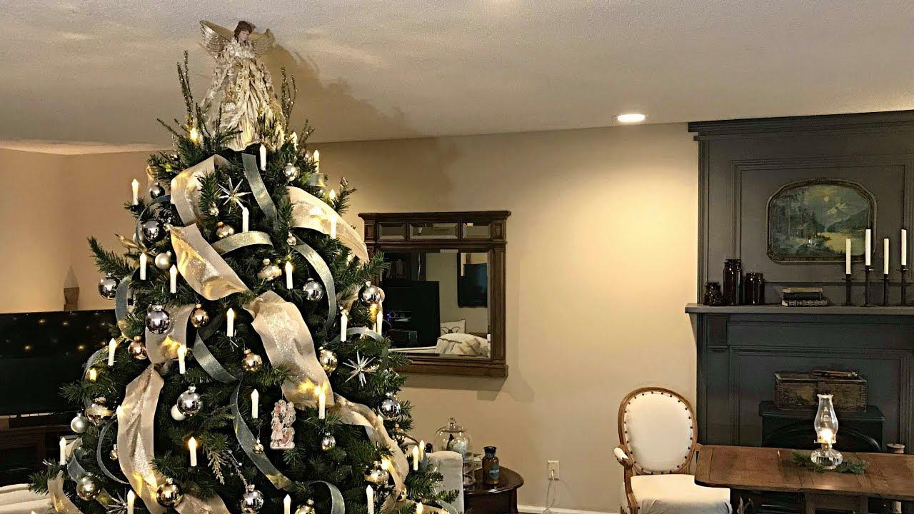 Victorian Christmas Tree In Gold, Smokey Blue, & Cream
