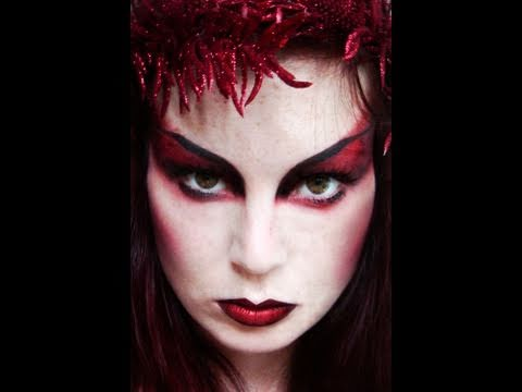 how to create a dramatic demoness makeup look for halloween makeup wonderhowto - Maquillaje Diablesa