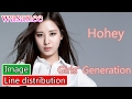 Girls' Generation/Snsd - Honey - Line Distribution (Color Coded Image)