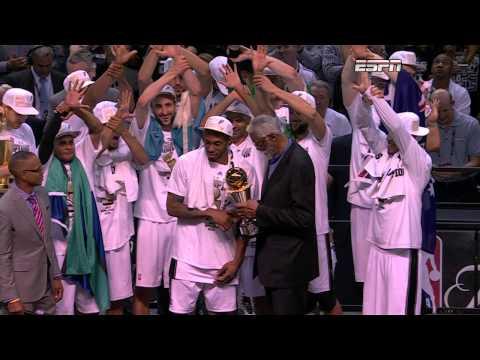 Kawhi Leonard Receives the 2014 Finals MVP Trophy