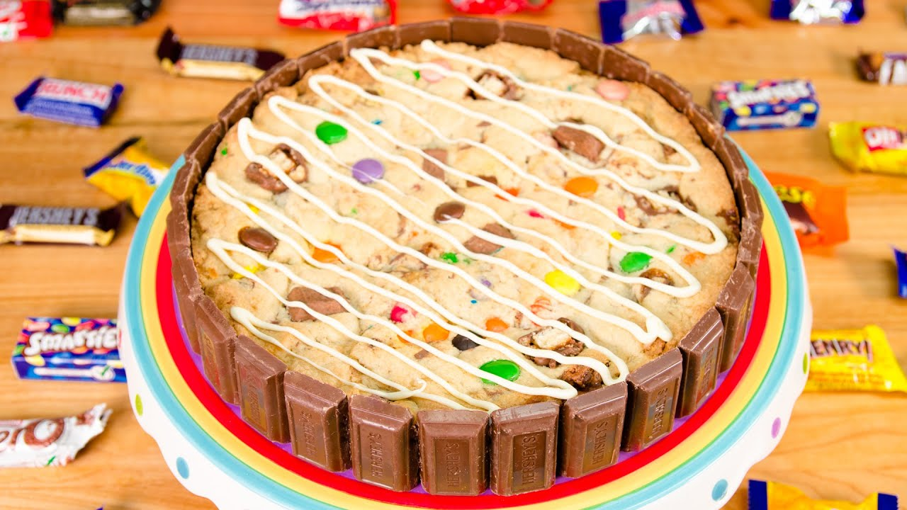 Giant Cookie Cake with Leftover Halloween Candy from ...