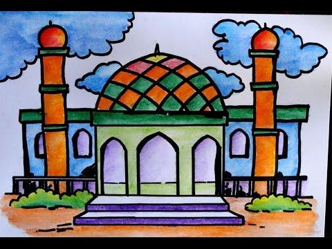 Cara Menggambar Pemandangan Masjid Youtube