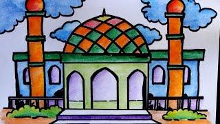 cara menggambar pemandangan masjid