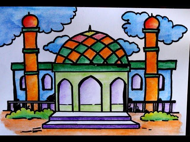 Cara Menggambar Pemandangan Masjid Clipfail