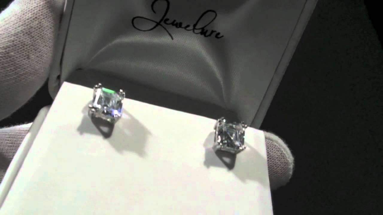 Jewelure 7mm 205 Carat Asscher Cut Flawless 5a Cz Stud Earrings