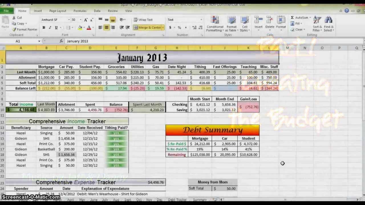 how to setup a home budget on excel