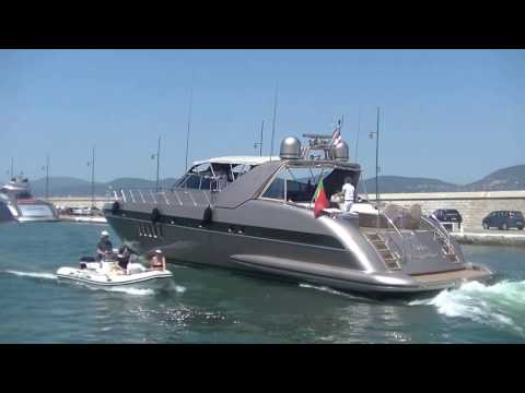 The Mangusta 80 charter yacht Of Villa Romana leaving St. Tropez