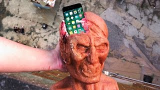 Can a Zombie Head Protect an iPhone 7 from 100 FT Drop Test?  Gizmoslip