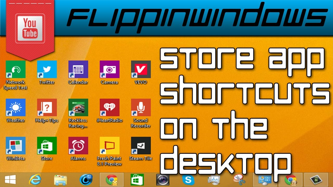 how to create shortcuts for windows store apps