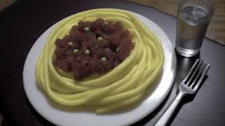 ピザ形お菓子作成 Making mini candy pizza, pasta | ASMR