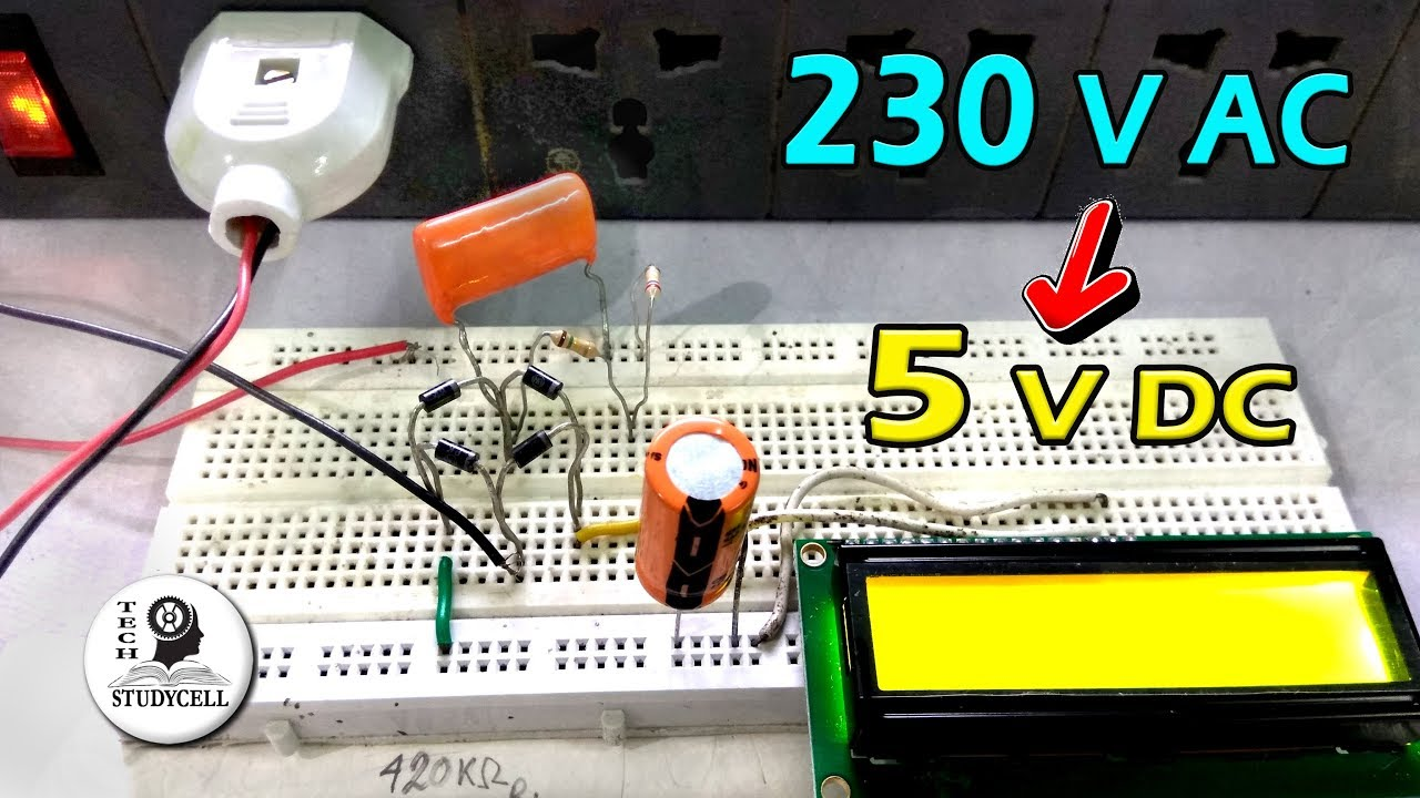 Transfromer Less Power Supply On Breadboard 230v Ac To 5v