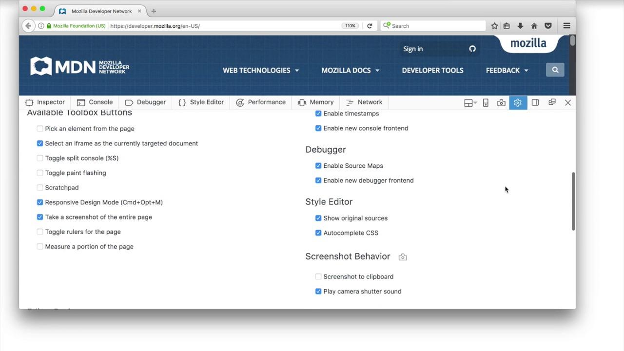 Taking screenshots - Firefox Developer Tools | MDN
