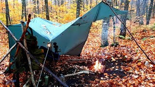Solo Overnight/Tarp Shelter/Cold Stormy/Camping in the Rain