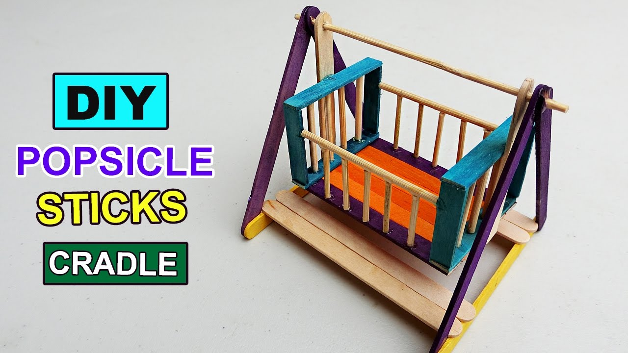 Popsicle Stick Crafts Cradle Toy For Kids Diy Youtube