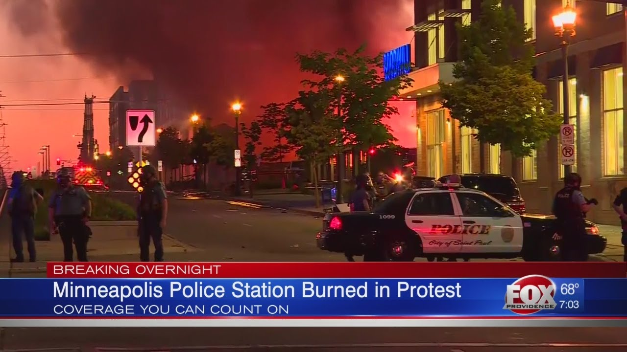 Minneapolis police station burned in protest - YouTube
