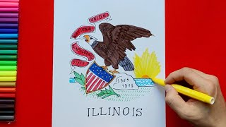 How to draw and color the State Flag of Illinois