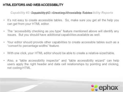HTML Editors:  Four Key Capabilities To Address Web Accessibility Issues
