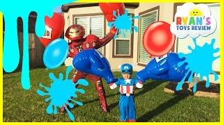 Water Balloons Fight Captain America Civil War vs Iron Man Marvel