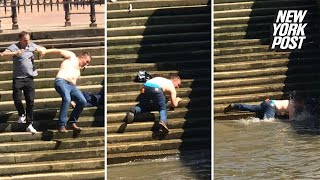 Klutz takes a royal spill into the River Thames | New York Post