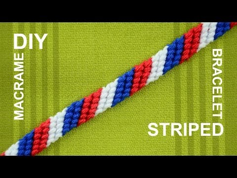 How To Make A Candy Stripe / Diagonal Striped Friendship Bracelet / Beginner